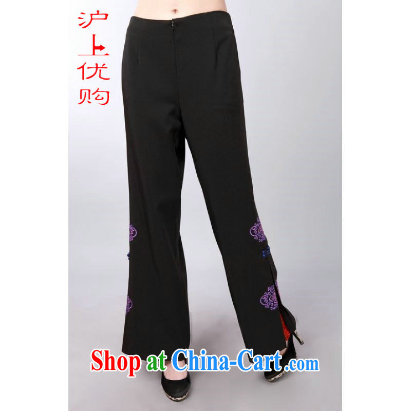 Shanghai, optimize purchase female short pants summer Chinese improved sustainable flowerpots trousers short pants P 0008 black 2 XL