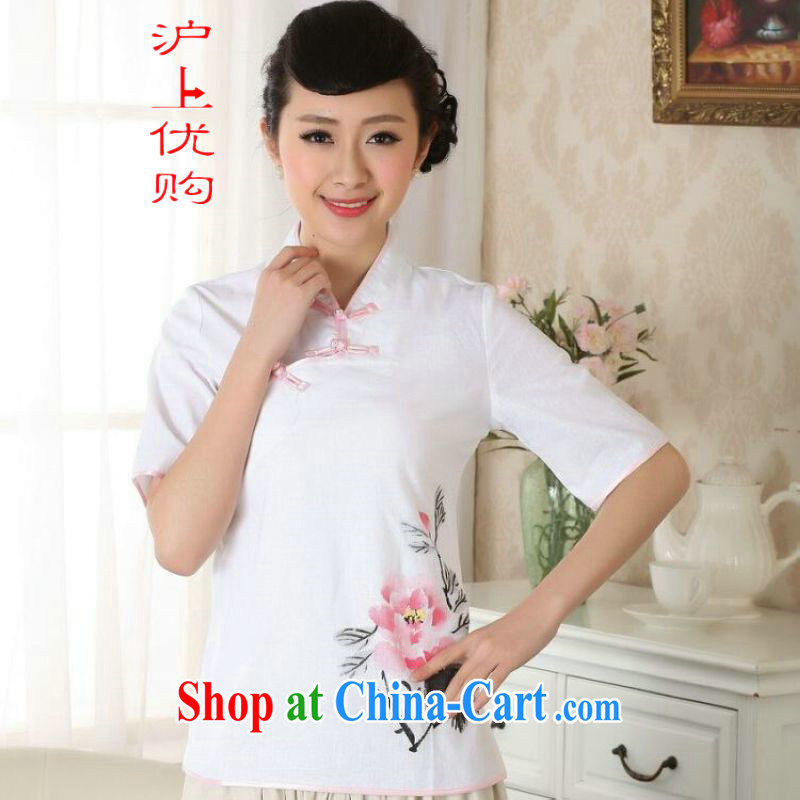Shanghai, optimize purchase female Tang Women's clothes summer T-shirt, for a tight hand-painted cotton the Chinese Han-female improved A 0056 white 2XL