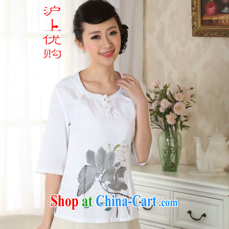 Shanghai, optimize purchase female Tang Women's clothes summer T-shirt with cotton the ethnic wind Chinese Han-female improved A 0058 white 2XL