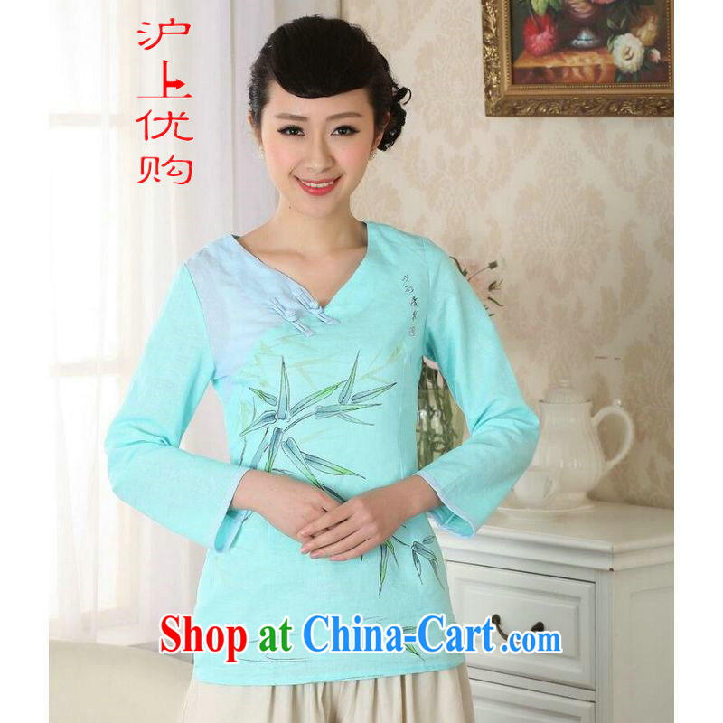 Shanghai, optimize purchase female Tang Women's clothes summer T-shirt is a tight cotton Ma ethnic wind Chinese Han-female improved A 0059 blue 2 XL