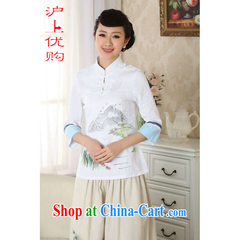 Shanghai, optimize purchase female Tang Women's clothes summer T-shirt cotton Ma hand painted ethnic wind Chinese Han-female improved A 0060 white 2XL