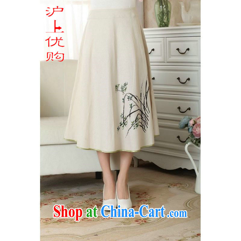 Shanghai, optimize purchase female body skirt summer ground 100 ethnic wind cotton Ma hand-painted dress skirt P 0011 photo color XL
