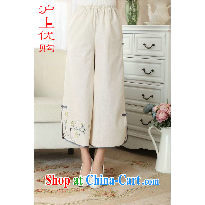 Shanghai, optimizing Pre-IPO Share Option Scheme, Ms. Tang pants summer costumes Han-wide leg Trouser press ethnic wind girls pants P 0012 m yellow L