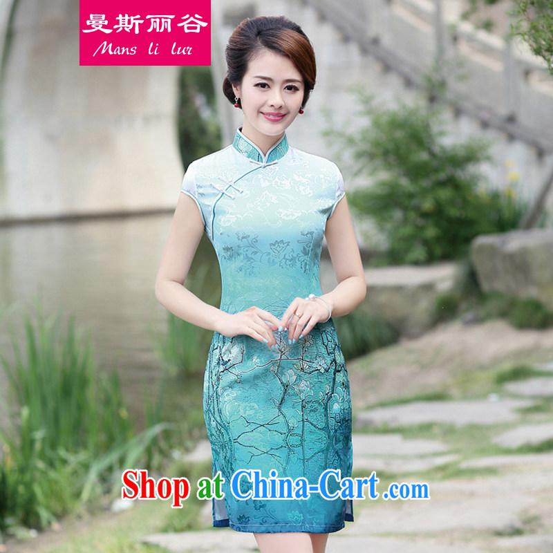 AMMAN, Mrs Carrie Yau, at the 2015 summer load new ethnic wind Tang is cultivating charisma retro, for cheongsam dress YY 8892 blue M