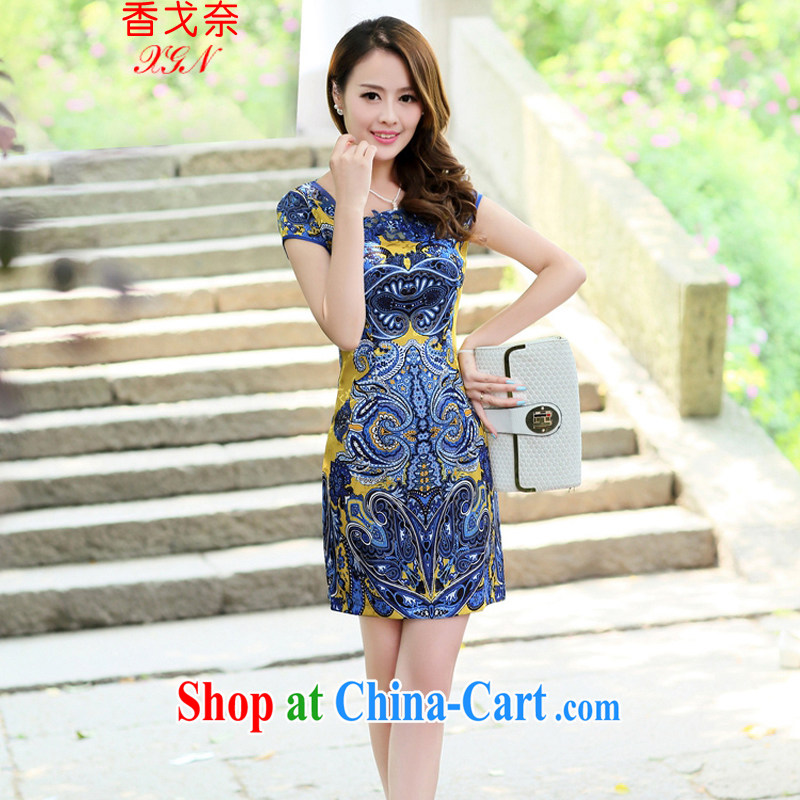 The Shannon Gore, 2015 female new Ethnic Wind Chinese short-sleeved Chinese Embroidery ink retro beauty graphics thin cheongsam dress yellow M