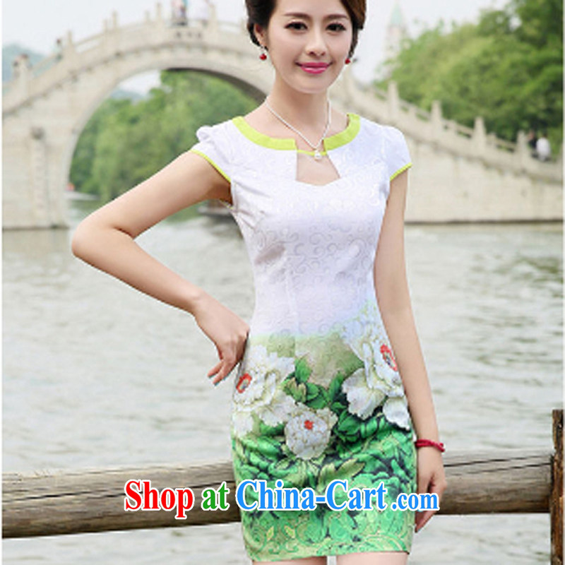 The beautiful valley 2015 summer new dresses qipao Web yarn lace collar short-sleeve jacquard retro China wind cheongsam dress green M