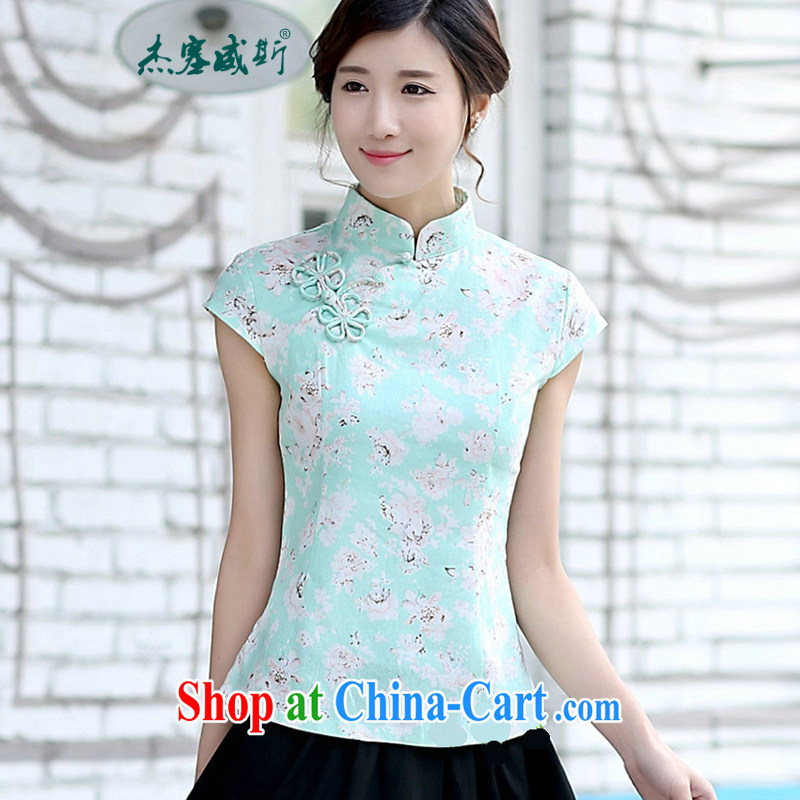 Jessup, new girls spring and summer classic retro Korea cotton mA short-sleeve and collar manual for Chinese T-shirt Chinese shirt green roses flower XXL