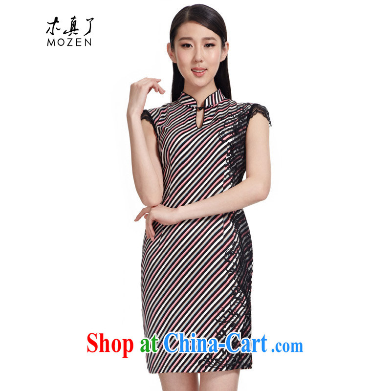 Wood is really the 2015 spring and summer new cheongsam Chinese striped lace stitching and stylish short cheongsam improved 21,989 00 mottled XXXL