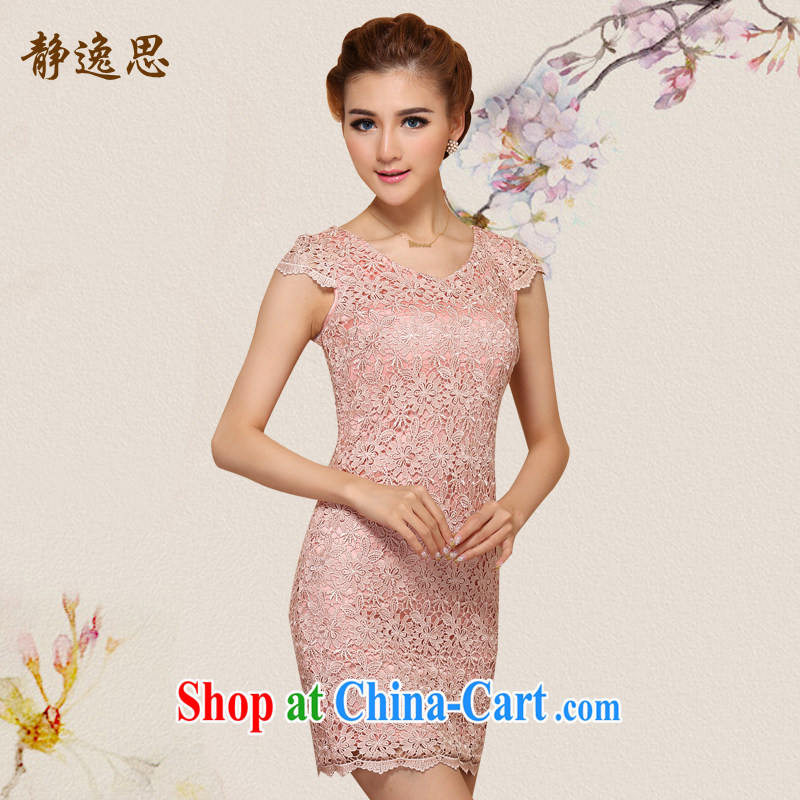 2014 summer new female fashion lace cheongsam dress stylish beauty graphics thin cheongsam dress meat pink low-collar 2 XL