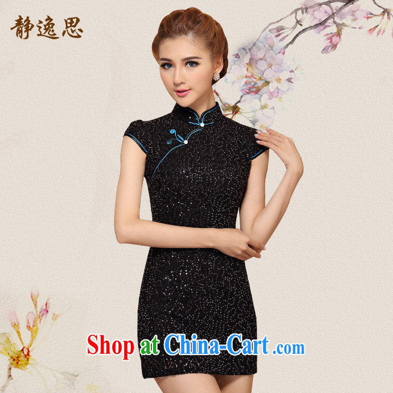 2014 summer new improved stylish dresses dresses Style Fashion cheongsam dress J - R 07 black L