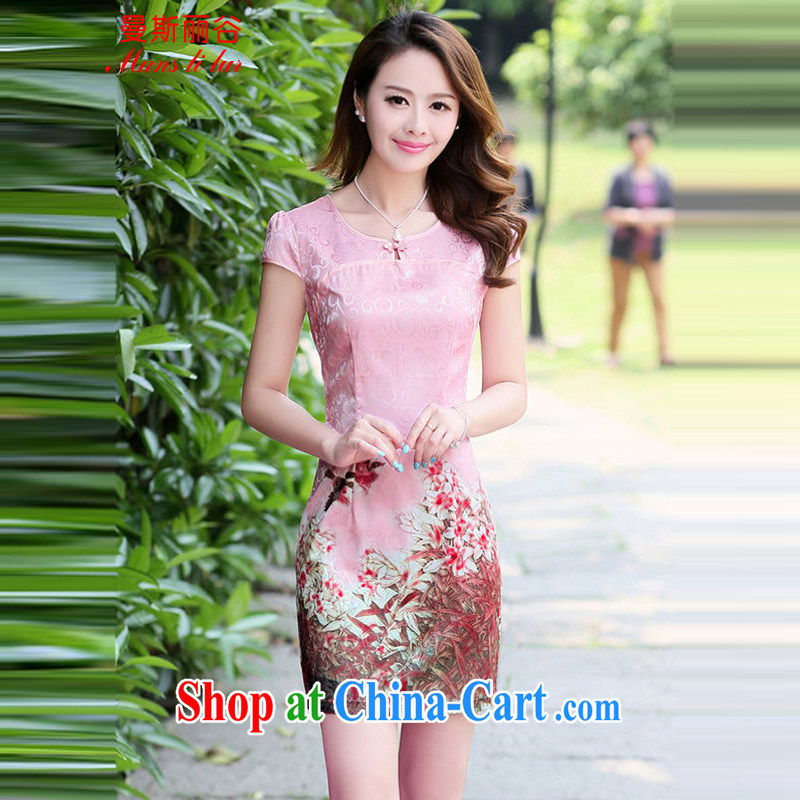 The beautiful valley 2015 new summer style etiquette cheongsam flouncing peony flower pattern short sleeve 100A cheongsam dress summer 8881 pink L