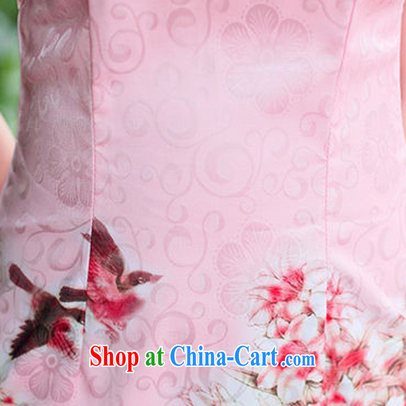 The beautiful valley 2015 new summer style etiquette qipao flouncing peony flower pattern short sleeve 100A cheongsam dress summer 8881 pink L, Cayman, Lai Valley, shopping on the Internet