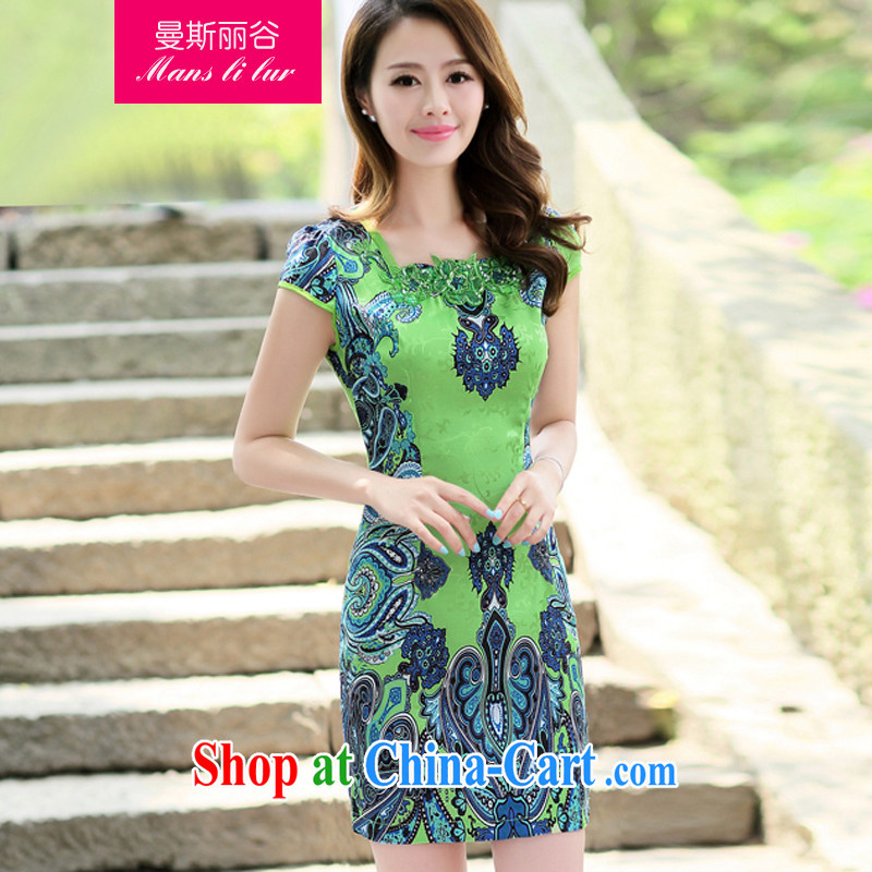 The beautiful valley 2015 female new Ethnic Wind Chinese short-sleeved Chinese Embroidery ink retro beauty graphics thin cheongsam dress green M