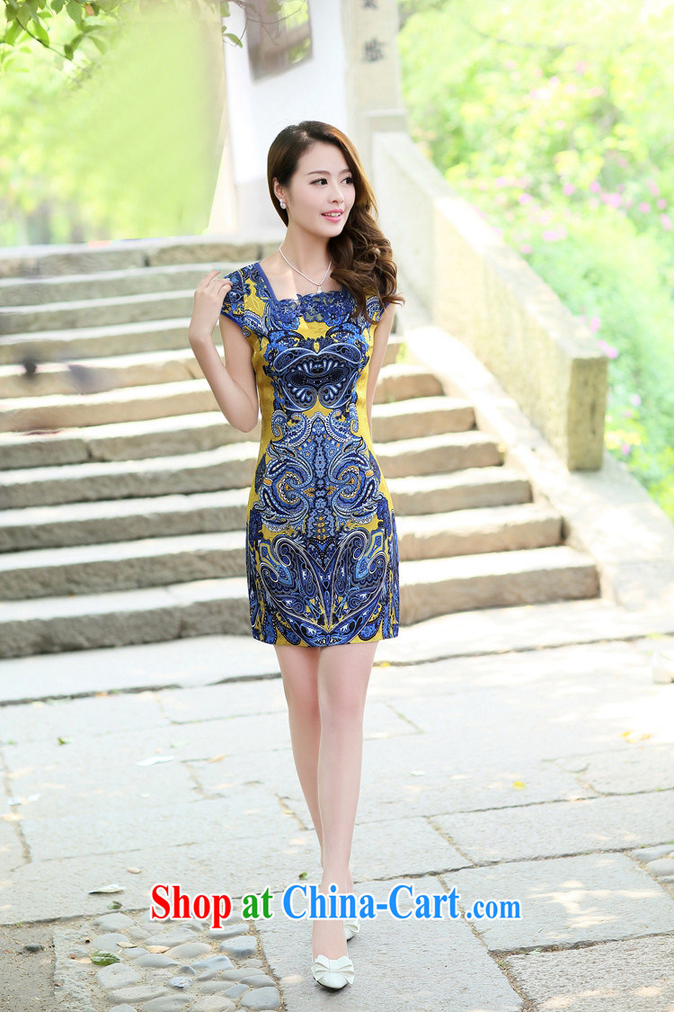2014 female new Ethnic Wind Chinese short-sleeved Chinese Embroidery ink retro beauty graphics thin cheongsam dress pink L pictures, price, brand platters! Elections are good character, the national distribution, so why buy now enjoy more preferential! Health