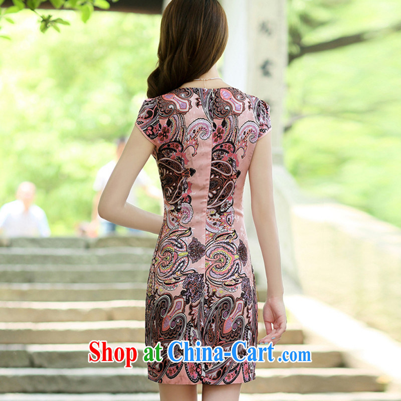 2014 female new Ethnic Wind Chinese short-sleeved Chinese Embroidery ink retro beauty graphics thin cheongsam dress pink L, Mr Tung Chee Hwa (Miss . Dong), online shopping