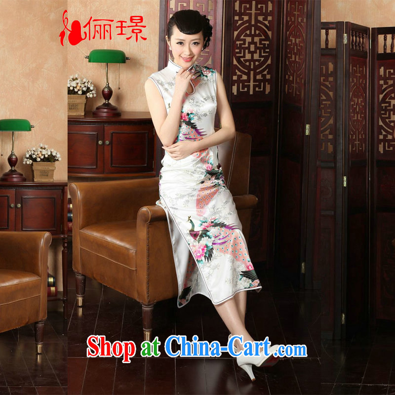 Jing An outfit summer improved retro dresses, for silk Peacock Chinese improved cheongsam dress long KQ J 1001 5115 white M _100 - 110 _ jack