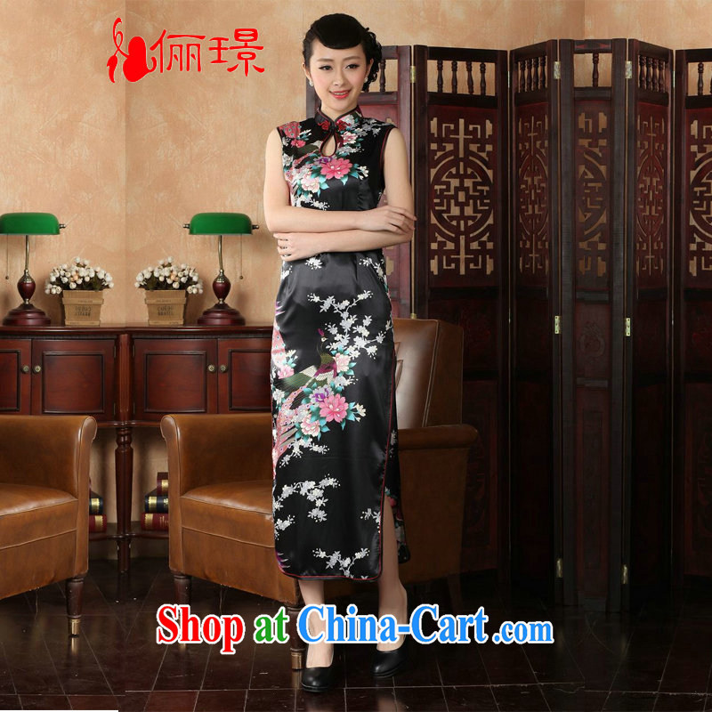 Jing An outfit summer improved retro dresses, for silk Peacock Chinese improved cheongsam dress long KQ 1001 black XL _recommendations 115 - 120 jack_