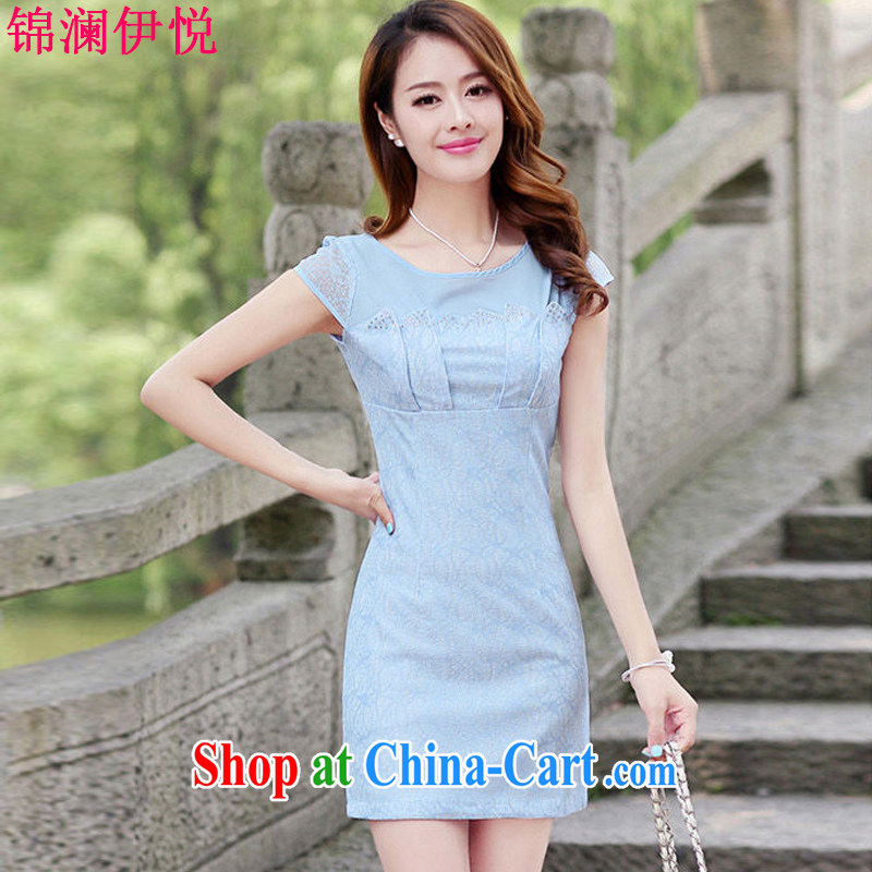 kam world the Hyatt spring female sweet lady elegant knowledge of cultivating graphics thin long-sleeved lace dresses short, improved solid outfit blue XL