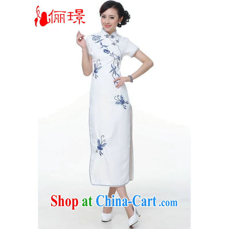 Jing An outfit summer improved retro dresses, for silk embroidered Chinese improved cheongsam dress long 0005 white 2XL (recommendations 120 - 130 jack)