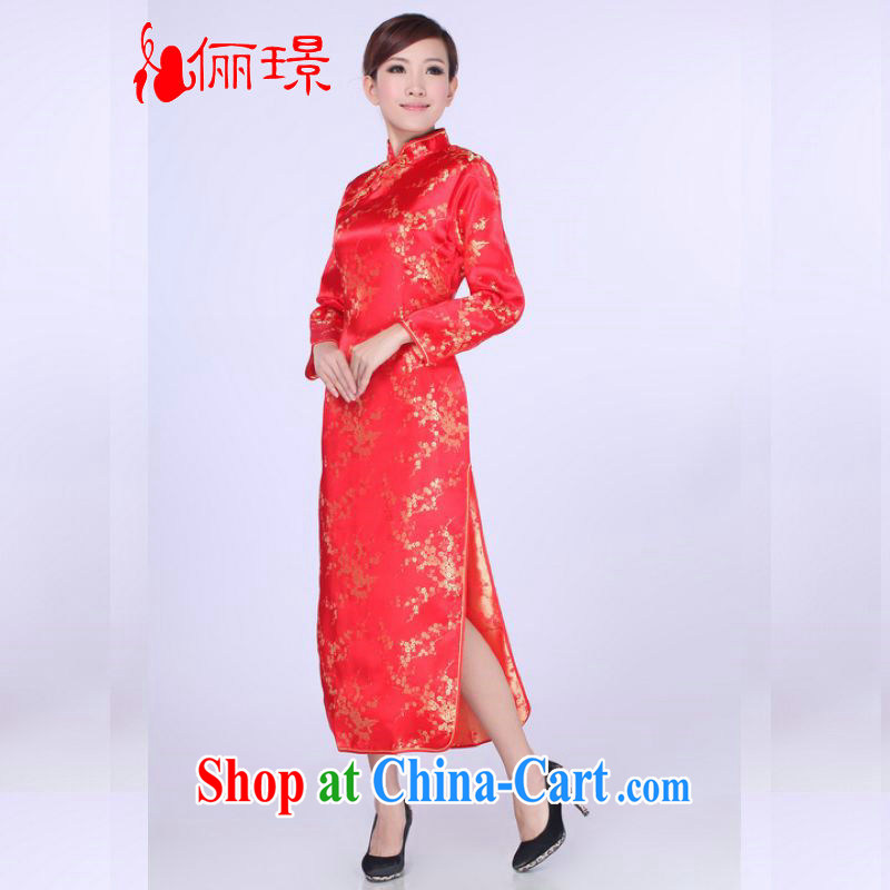 Jing An outfit summer improved retro dresses, for silk Chinese improved cheongsam dress long 0013 red 2 XL (recommendations 120 - 130 jack)