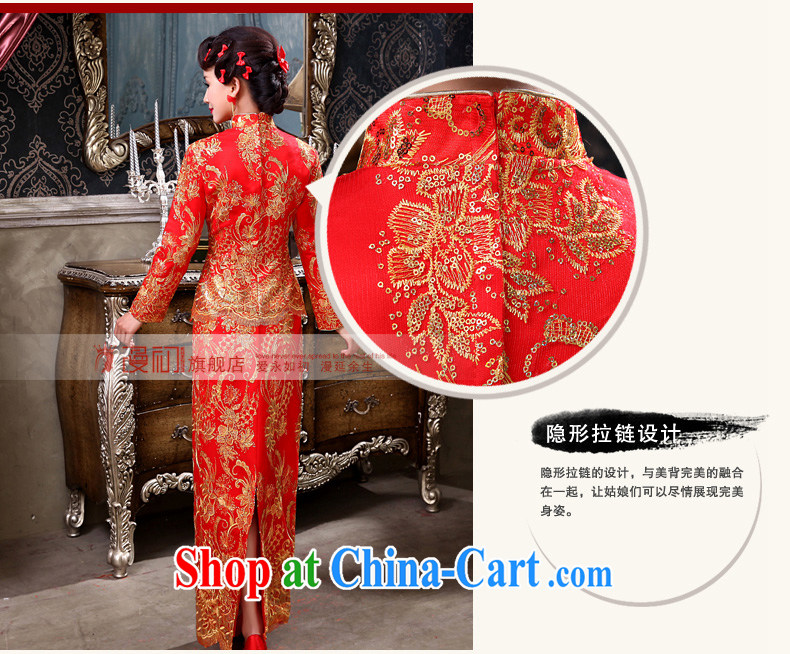 Early definition bridal wedding dress winter 2015 New Red wedding toast serving long-sleeved improved antique cheongsam dress Red. Pictures, price, brand platters! Elections are good character, the national distribution, so why buy now enjoy more preferential! Health