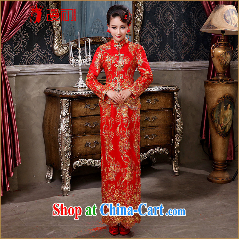 Early definition bridal wedding dress winter 2015 New Red wedding toast serving long-sleeved improved antique cheongsam dress red.