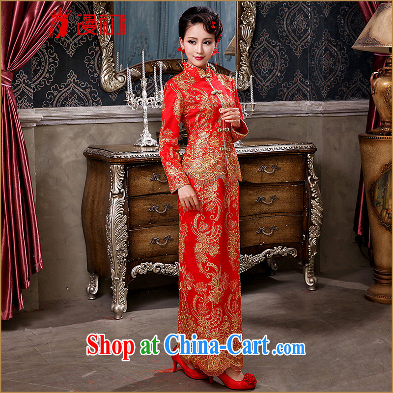 Early definition bridal wedding dress winter 2015 New Red wedding toast serving long-sleeved improved antique cheongsam dress red, early definition, and shopping on the Internet