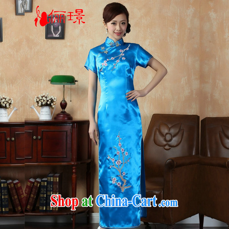 Jing An outfit summer improved retro dresses damask, for a tight embroidered Chinese improved cheongsam dress long XM J 1001 3406 Lake blue 2 XL _recommendations 120 - 130 jack_