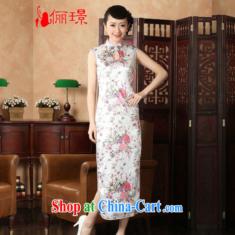 Jing An outfit summer improved retro dresses, for hand-painted Chinese improved cheongsam dress long YH J 1202 5112 white 2XL (recommendations 120 - 130 jack)