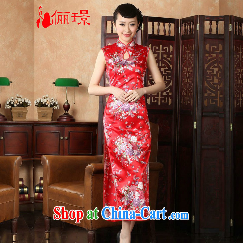 Jing An outfit summer improved retro dresses, for hand-painted Chinese improved cheongsam dress long YH J 1201 5111 red 2 XL (recommendations 120 - 130 jack)