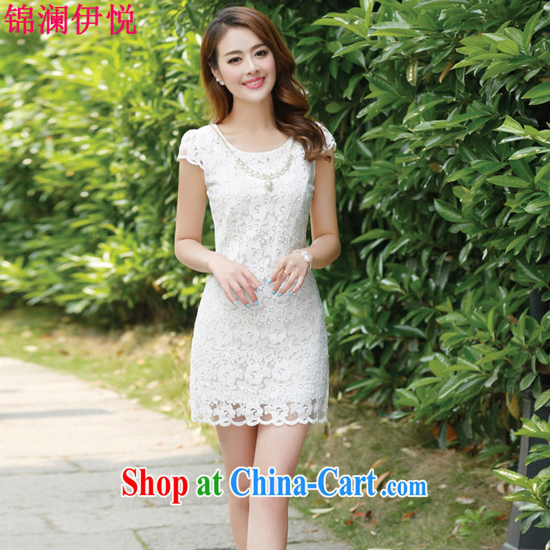 kam world the Hyatt 2015 new female lace hook flower fairies temperament sweet Princess wind Korean Beauty video gaunt waist dress solid dress bridesmaid dress dress white XXL