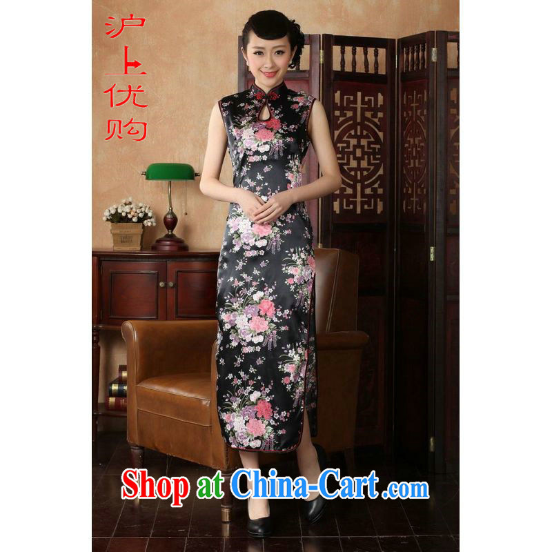 Shanghai, optimize purchase dresses summer improved retro dresses cotton, stamp duty for Chinese improved cheongsam dress long J 5113 black XL recommendations 115 - 120 jack