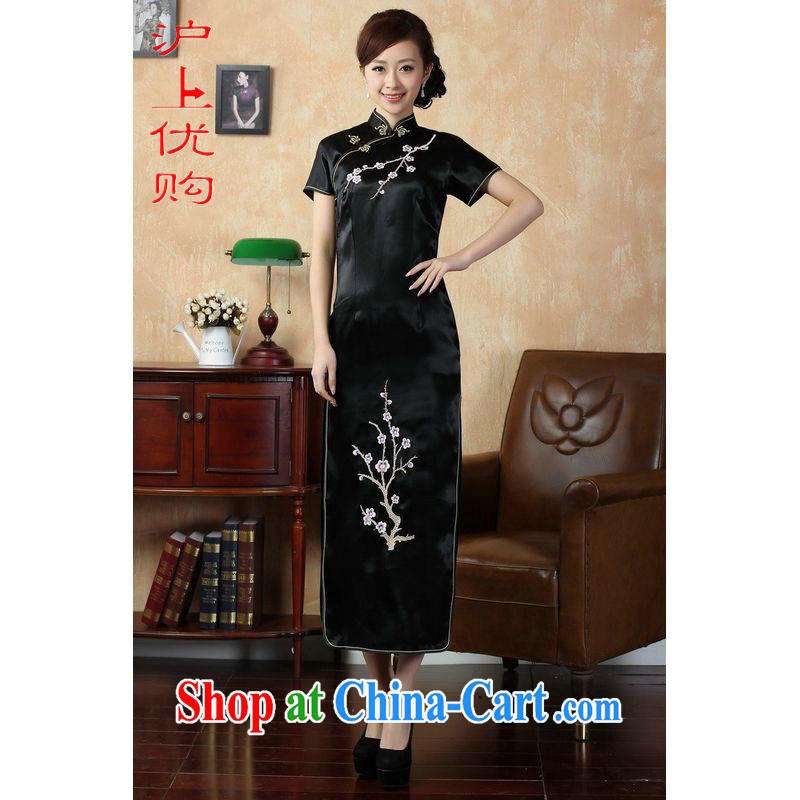 Shanghai, optimize purchase cheongsam dress summer improved retro dresses, for a tight silk hand-painted Chinese improved cheongsam dress long 3408 black 3 XL recommendations 130 - 135