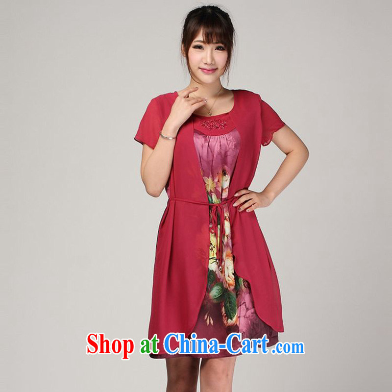 Forest narcissus summer 2014, 618 special, leave the real silk loose the code MOM replace stamp duty dresses S 7 - 813 red XXXL