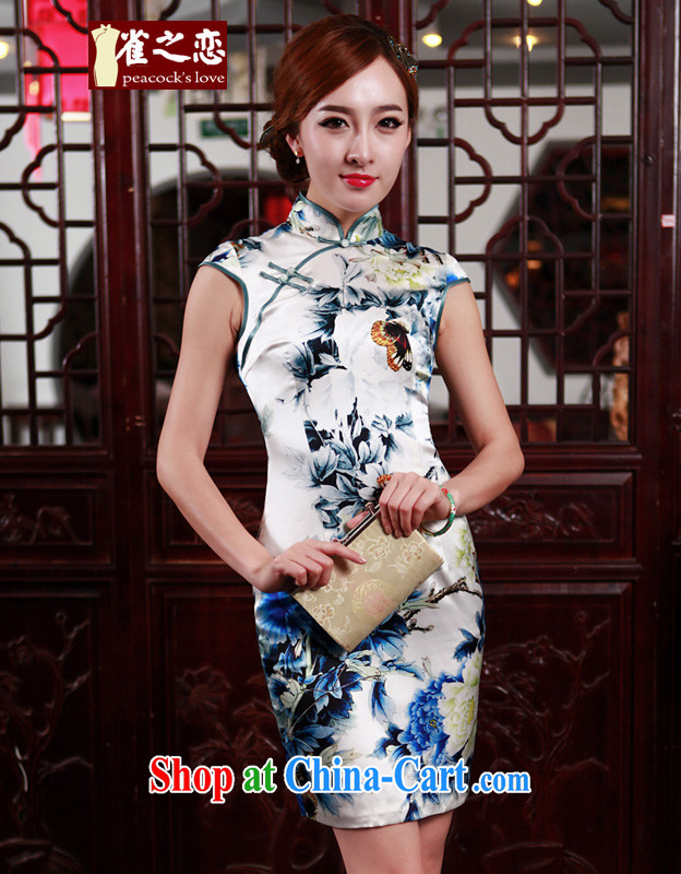 Bird lovers of poetry, so 2015 spring new improved stylish upmarket heavy Silk Cheongsam day blue L