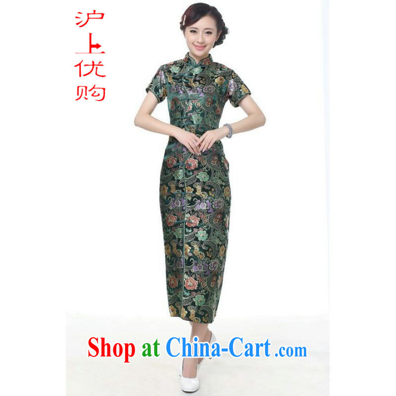 Shanghai, optimize purchase cheongsam dress summer improved retro dresses up for a tight silk hand-painted Chinese improved cheongsam dress long J 0027 green 2 XL recommendations 120 - 130 jack