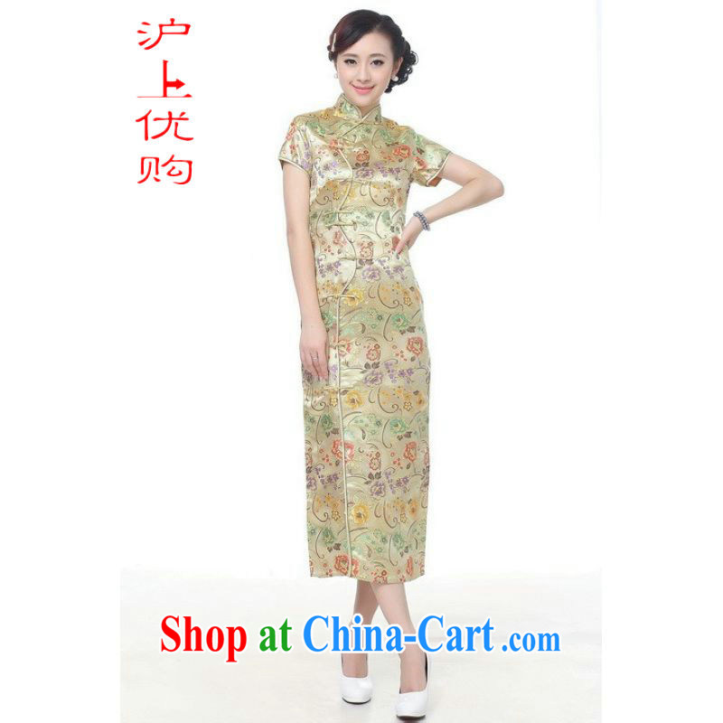 Shanghai, optimize purchase cheongsam dress summer improved retro dresses, for a tight silk hand-painted Chinese improved cheongsam dress long C 0002 gold 3 XL recommendations 130 - 135 jack