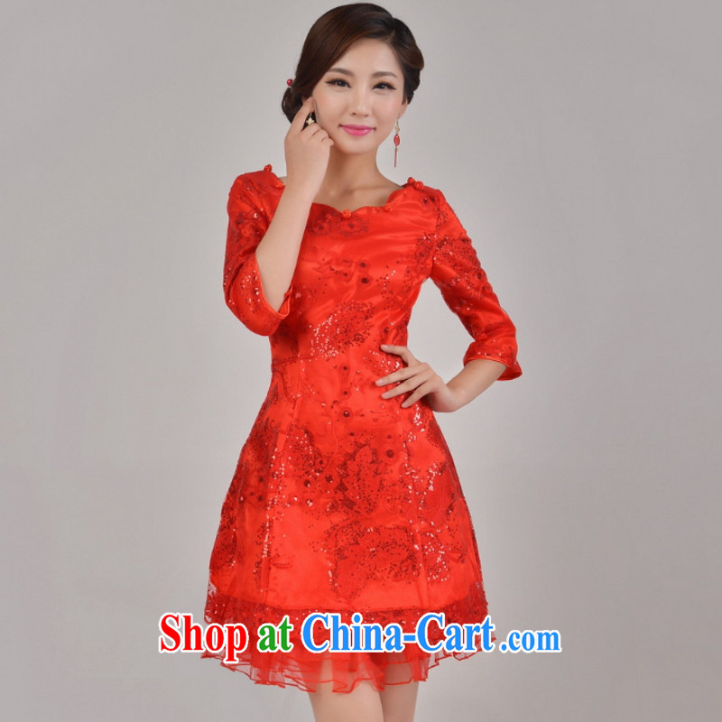In accordance with the preceding yarn New Red improved lace, cultivating marriages bows short dresses, summer wear long-sleeved gown service performances in red sleeved L