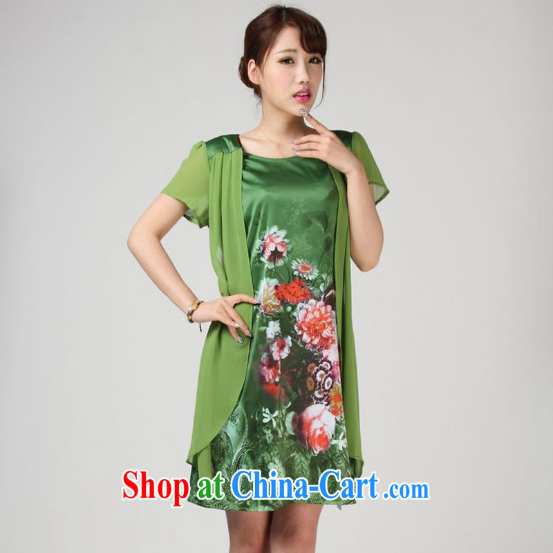 Forest narcissus summer 2014, 618 special loose the code mother false Two stamp Tang is really Silk Dresses S 7 - 851 green XXXL