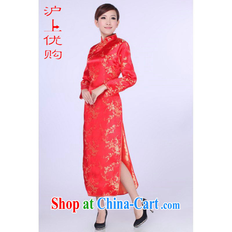 Shanghai, optimize purchase cheongsam dress summer improved retro dresses up for a tight silk hand-painted Chinese improved cheongsam dress long E 0013 red 2 XL recommendations 120 - 130 jack