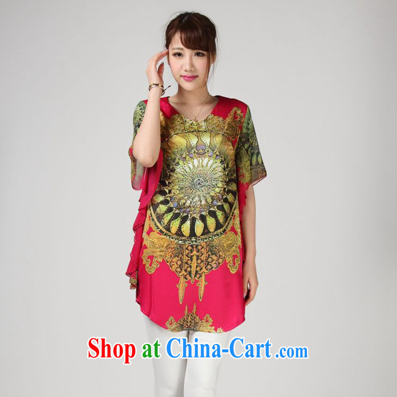Forest narcissus summer 2014, 618 special, silk shirt stamp sauna silk Chinese shirt T S 7 - 852 red XXXL