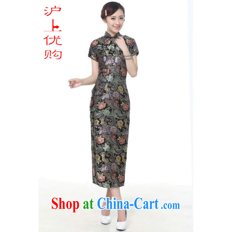 Shanghai, optimize purchase cheongsam dress summer improved retro dresses up for a tight silk hand-painted Chinese improved cheongsam dress long C 0005 - A black 2 XL recommendations 120 - 130 jack