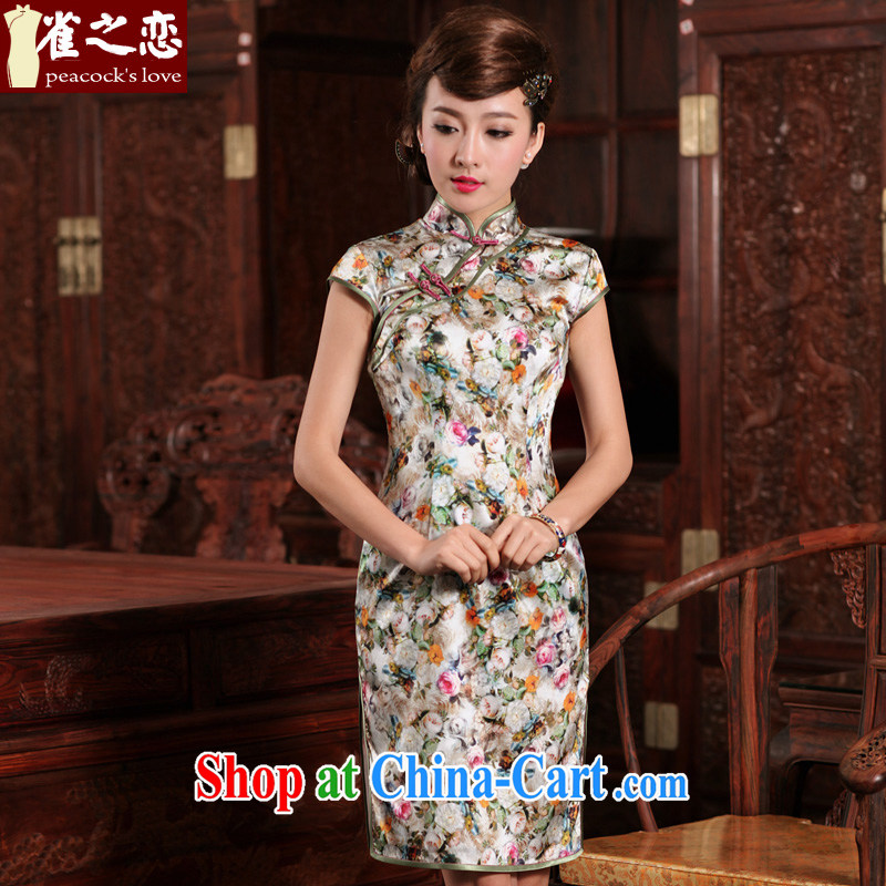 Bird lovers of Fairview Park, Jiafeng dream-improved stylish short, high quality Silk Cheongsam QD 471 figure XXL
