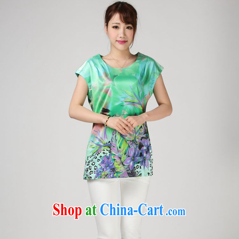 Forest narcissus summer 2014, relaxed the code mom is really silk shirt T stamp Chinese T-shirt S 7 - 856 water green XXXL