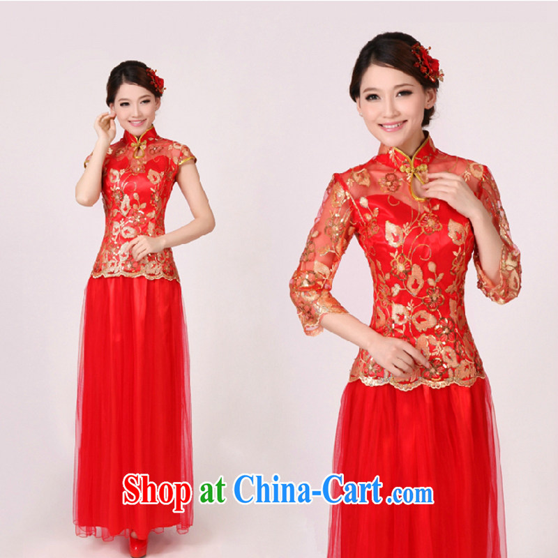 In accordance with the preceding yarn new bridal wedding dresses wedding dresses red long Chinese improved bows clothes retro dresses bridal red in the cuff size is not returned.