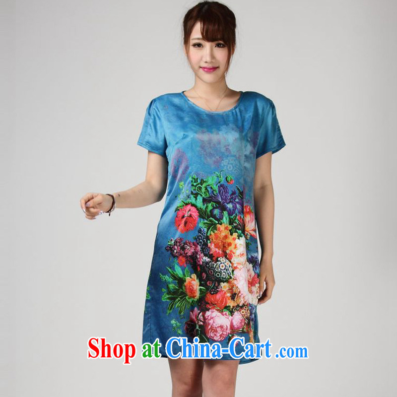 Forest narcissus summer 2014, really Silk Dresses stamp Chinese mother is relaxed the dress code S 7 - 857 blue XXXL