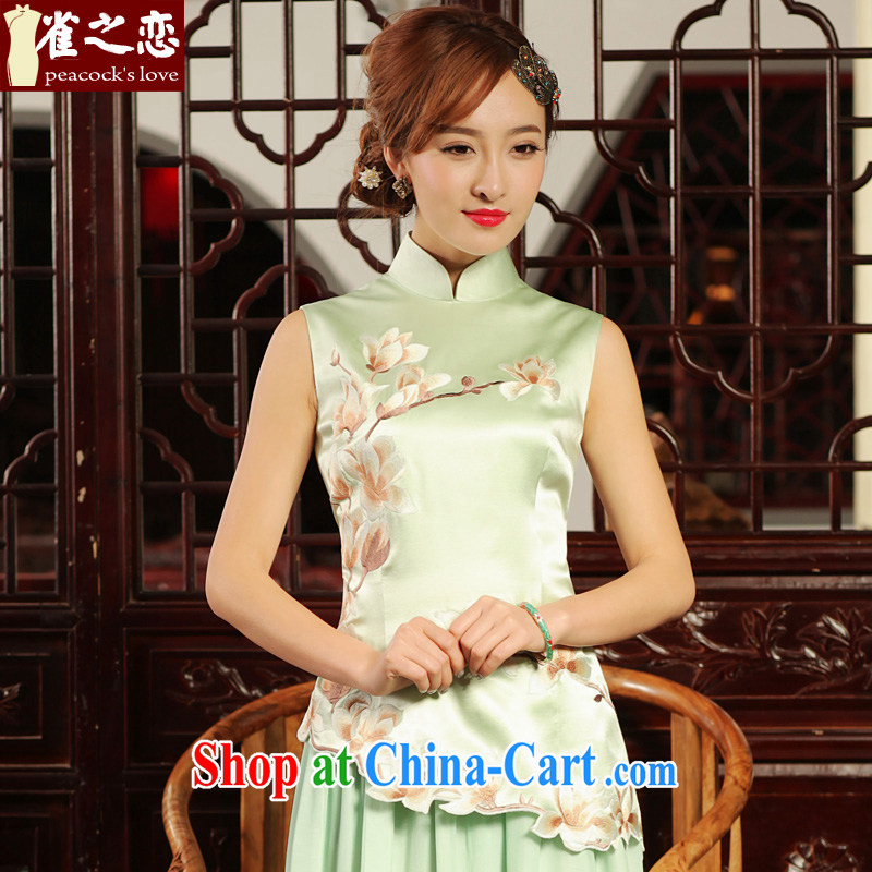 Bird lovers of fabulous HD video retro heavy silk Chinese Embroidery Chinese qipao shirt QD 486 light green S