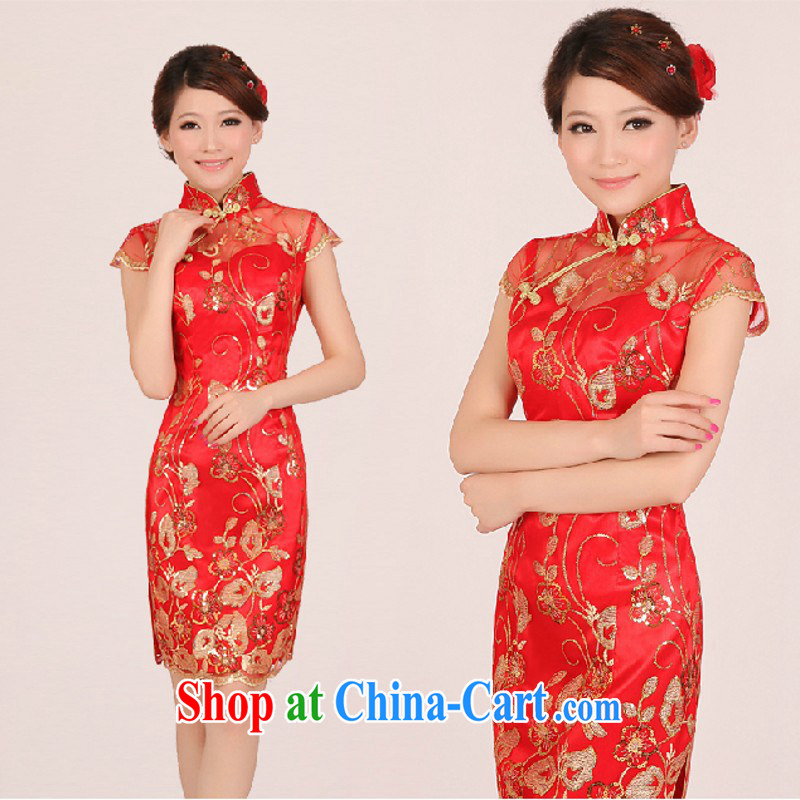 2015 new stylish dresses summer bridal wedding dresses red bows service improved retro dresses short red. size will not be returned.