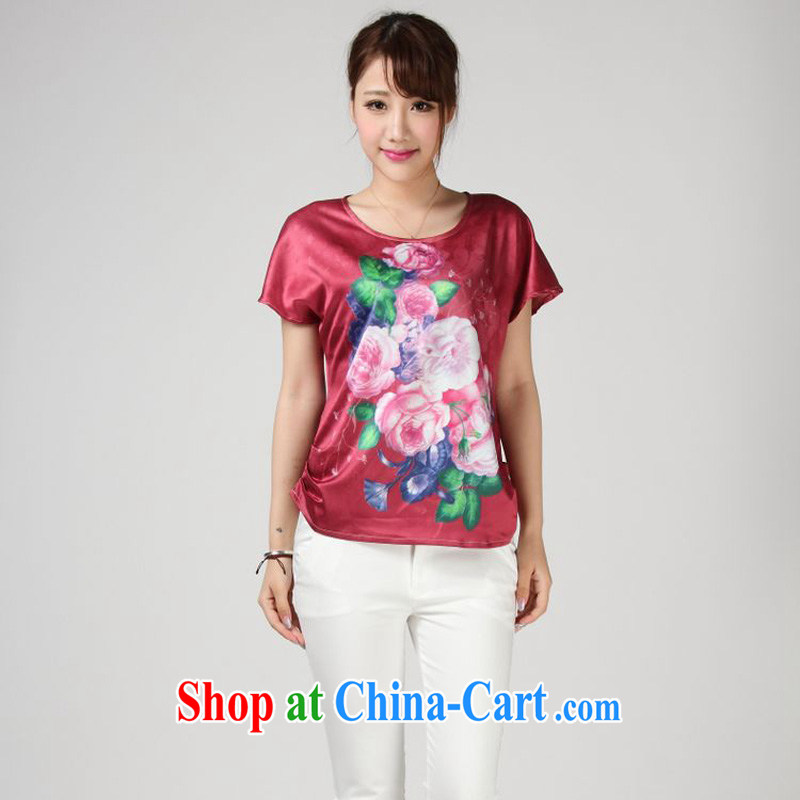 Forest narcissus summer 2014, really silk T shirt loose the code MOM replace Tang replacing T-shirt S 7 - 859 red XXXL