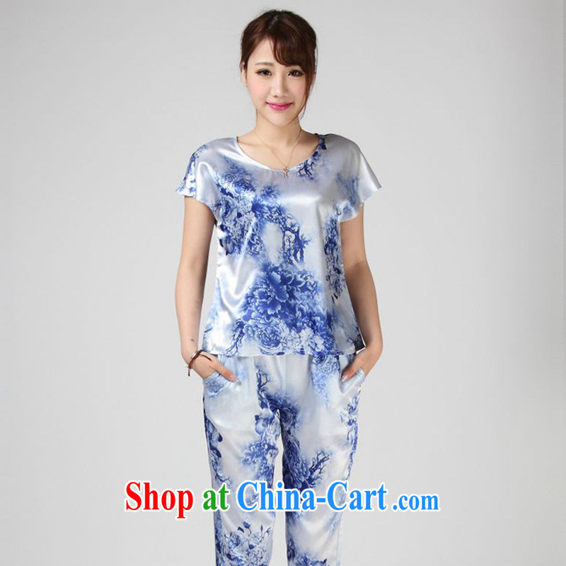 Forest narcissus summer 2014, special offers true silk T shirt blue and white porcelain stamp Chinese T-shirt S 7 - 862 blue and white porcelain XXL